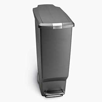 simplehuman 40 Liter / 10.6 Gallon Slim Kitchen Step Trash Can With Secure Slide Lock, Grey Plastic