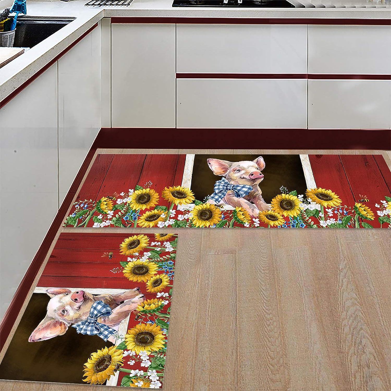 BestLives Kitchen Gorgeous Rug Sets Super special price Farmhouse Piece Pig Non-S 2 Sunflower