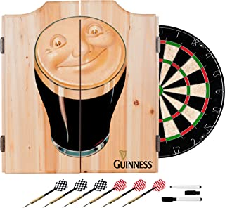 Trademark Gameroom Guinness Dart Cabinet Set with Darts & Board - Smiling Pint