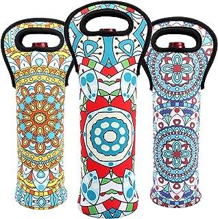 Wine Carrier Tote Bag Set Neoprene Wine Travel Protective 3 Bottles Holder Bag Bohemian Stylish Portable Champagne Carrier Bag for Safe Transport (mix color)