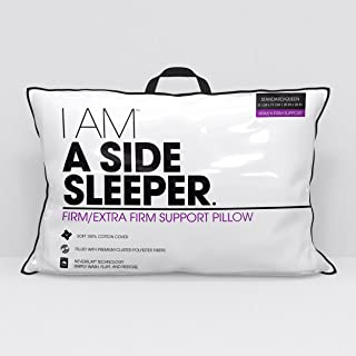 I AM A Side Sleeper Hypoallergenic Down Alternative Never Flat Pillow, Jumbo, White