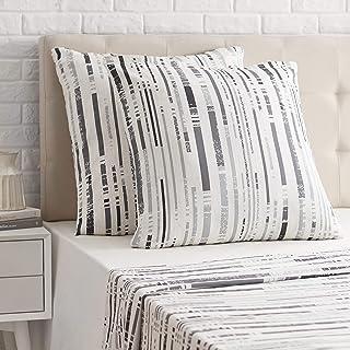 Amazon Basics Taie d'oreiller en satin - 65 x 65 cm x 2, Rayures anthracites texturées