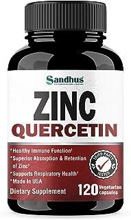 Zinc with Quercetin Seasonal Allergy Relief Best Quercetin Zinc Vitamin Supplement for Immune Support, Cardiovascular Heal...