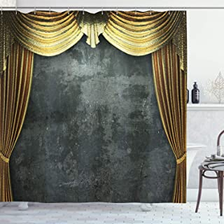 Ambesonne Opera Shower Curtain, Vintage Grunge Theater Stage Classical Design Illustration Medieval Baroque Print, Cloth F...