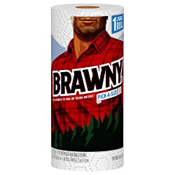 Brawny Paper Towels, 1 Large Roll, White, Pick-A-Size Sheets