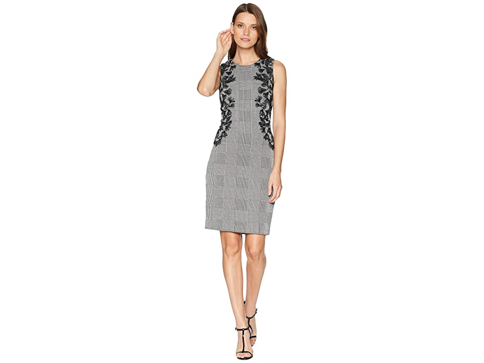 Calvin Klein Sheath Dress with Leaf Applique (Glen Plaid) Women