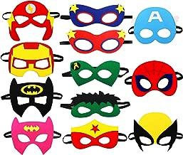 Cartoon Party Supplies Favors Heros Masks,Children Cosplay Character Felt Masks Party for Kids (12pcs)