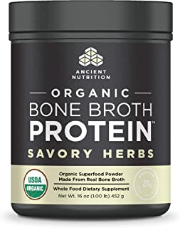 Ancient Nutrition Organic Bone Broth Protein Powder, Savory Herbs Flavor, 17 Servings Size - Organic, Gut-Friendly, Paleo-Friendly
