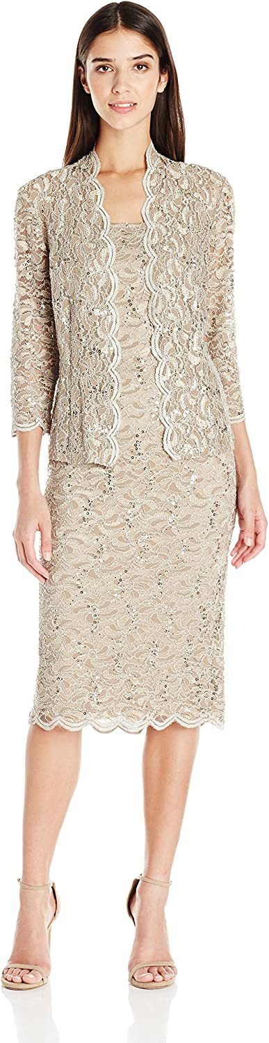 Alex Evenings Womens Petite Petite TLength All Over Lace Jacket Dress with Sequin Detail