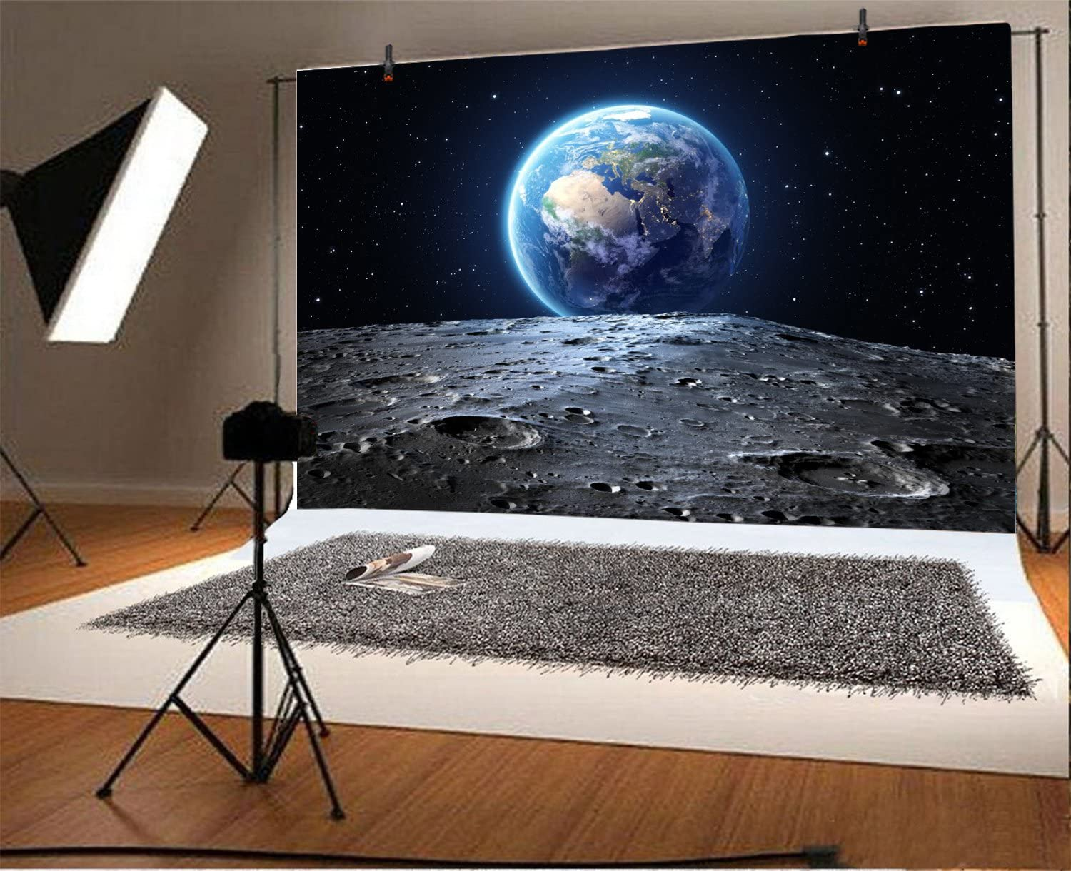 Fantasy Planet Earth View Starry Sky from Moon Surface Backdrops 10x6.5ft Polyester Photography Background Astronomy Universe Science Spaceman Photo Portraits Artistic Studio Props