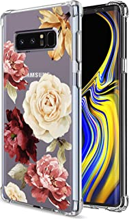 Galaxy Note 8 Case for Girls Women Clear with Flowers Floral Pattern Design Shockproof Protective Cell Phone Cover for Sam...
