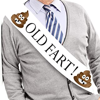 JPACO Old Fart! Sash with Pin - Hilarious Birthday Gag Gift for Men and Women & Retirement Party. Fits All Sizes