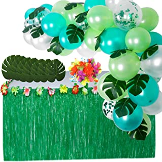Moana Party Supplies Set-1 Pack Grass Table Skirt 9ft,24 Pcs Tropical Faux Palm Leaves,24 Pcs Hibiscus Flowers with 5Pcs A...