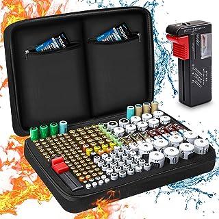 Boîte de Rangement de Batterie, Keenstone Organisateur de Stockage de Batterie avec Capacité pour 199 Piles AA AAA C D 9V...