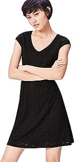 Marca Amazon - find. Vestido con Vuelo de Encaje Mujer