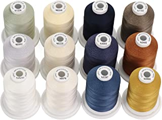 New brothread 12 Neutral&Jean Colors Multi-Purpose 100% Mercerized Cotton Threads 30WT(50S/3) 600M(660Y) Each Spool for Qu...