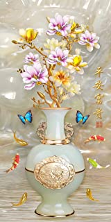 5D DIY Diamond Painting Kit for Gift Jade Vase Flowers Blue Butterflies Goldfish Computer Graphic Mosaics Rhinestone Cross Stitch Kit Wall Decor Home Craft Easy Activities for Beginners