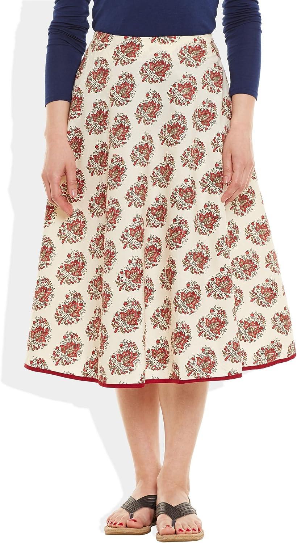 ShalinIndia Womens Apparels Cotton Printed Medium Length Skirt ALine