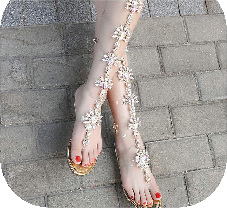 Sexy Woman Summer Flats Sandals gold Rhinestone Knee High Flat Sandals Bohemia Style Crystal Beach shoes