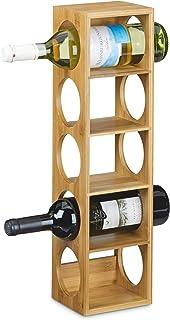 Relaxdays Étagère à vin en bambou HxlxP: 53 x 14 x 12 cm 5 emplacements range-bouteilles 5 étages casier à vin en bois por...