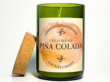 Recycled Wine Bottle Scented Candle (Pina Colada)