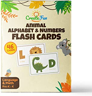 Animal 123 and ABC Flash Cards for Babies, Toddlers, Pre-K and Kindergarten Children - Complete Alphabet in Uppercase and Lowercase with Numbers for Toddler Learning - 46 Extra Thick Flashcards