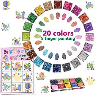 O-Kinee Tampons Encreurs Enfants, Tampon Encreur Enfant Encre Tampon Non-Toxique Créatifs Enfants Artisanat pour Peinture ...