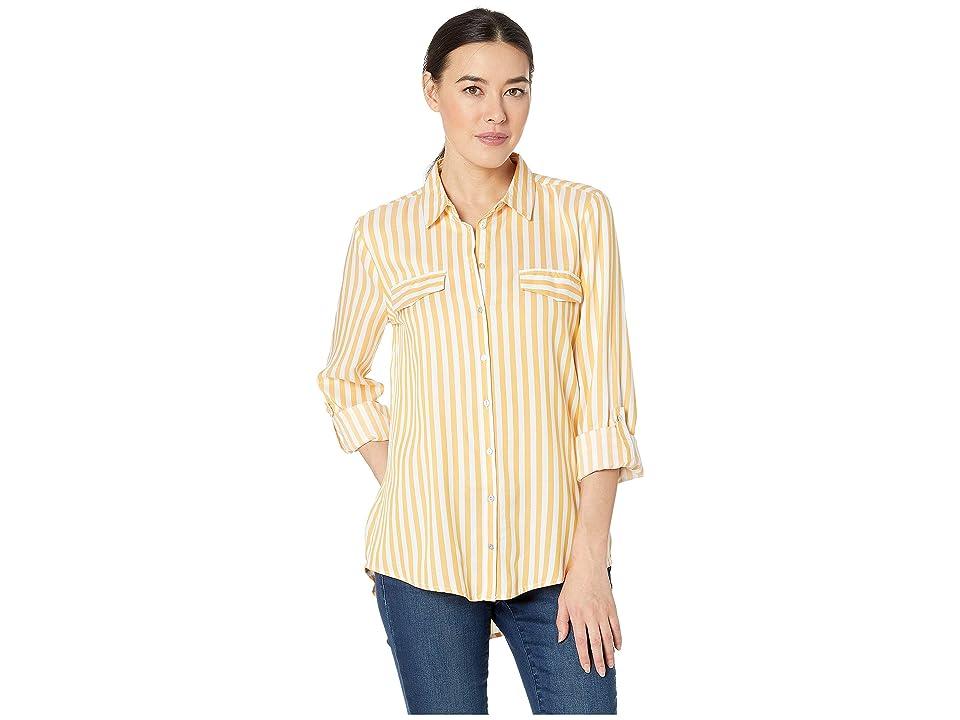 Image of ALEXANDER JORDAN Long Sleeve 2 Faux Flap Pockets Shirt (White/Mustard) Women's Clothing