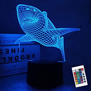 3D Shark Night Light Table Desk Illusion LED Lamp,7 Colors Change Room Home Decor Xmas Birthday Gifts for Child Baby