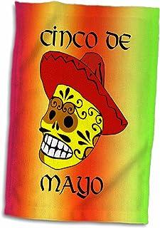 "3D Rose Cinco De Mayo Skull On Red Orange and Green Gradient TWL_211479_1 Towel, 15"" x 22"", Multicolor"