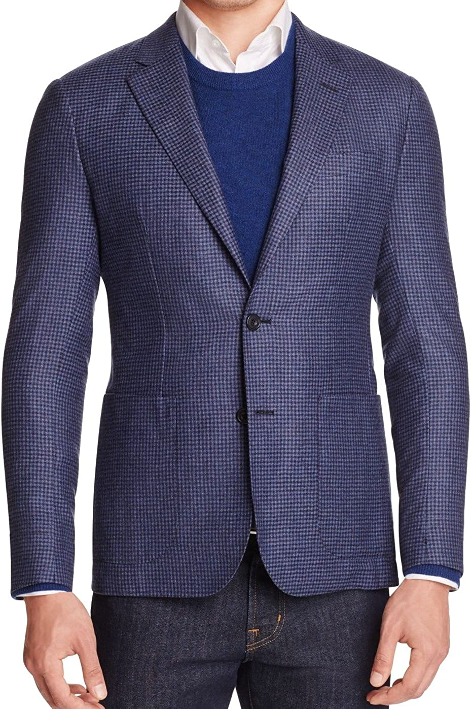 Hardy Amies Mens Wool Two Button Blazer Jacket
