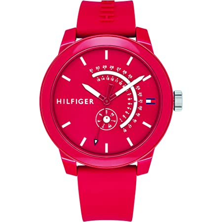 Tommy Hilfiger Men's Quartz Watch with Silicone Strap, red, 19.7 (Model: 1791480)