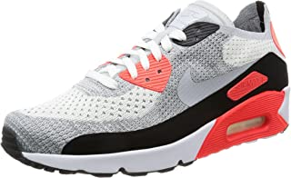 Men's Air Max 90 Ultra 2.0 Flyknit, White/Wolf Grey-Bright Crimson, 9.5 M US