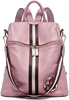 BOSTANTEN Leder Damen Rucksäcke Handtaschen Schultasche 2 in 1 Tagesrucksack Schulrucksäcke Daypacks Rosa