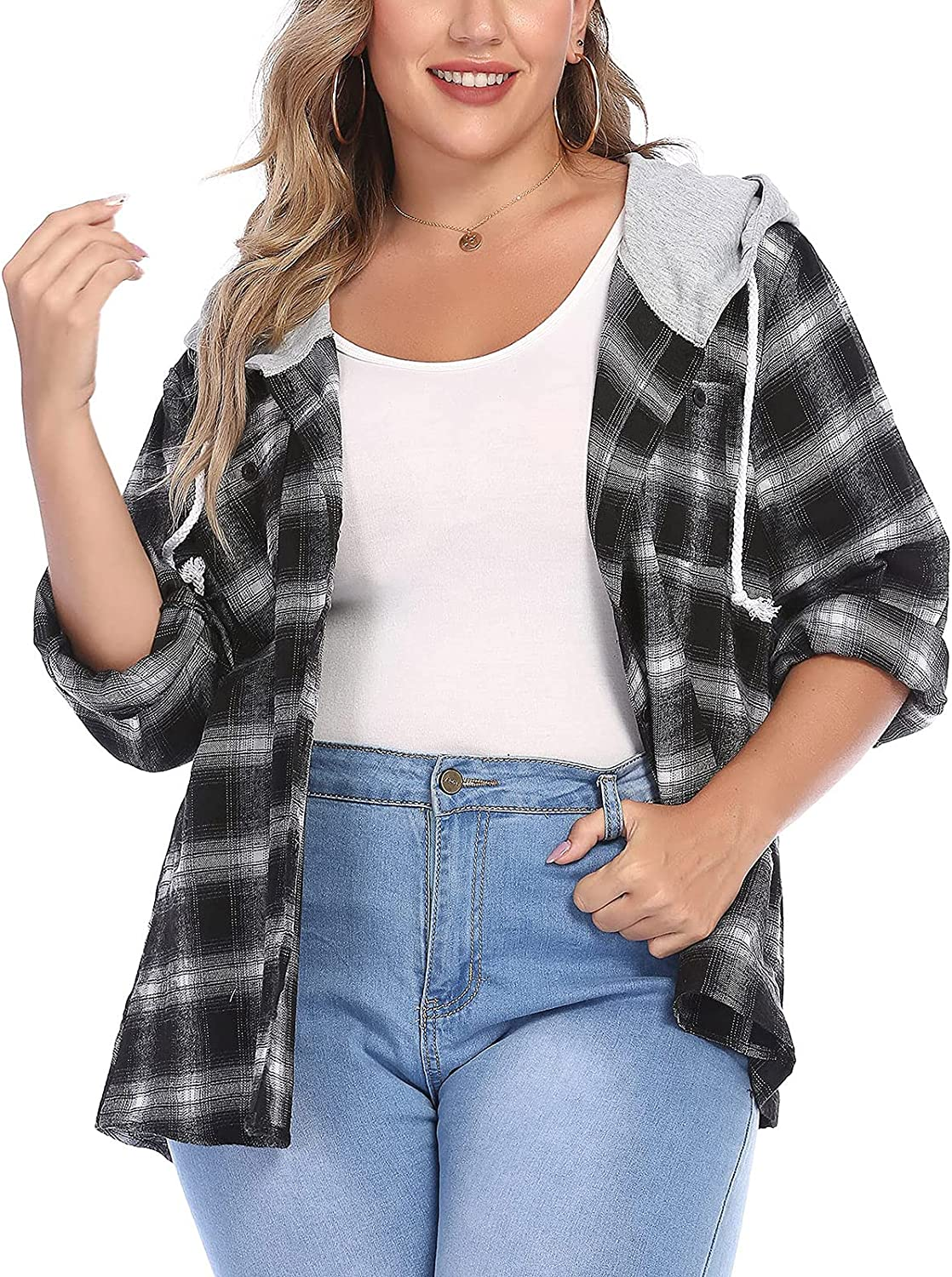 Plus Size Shirt for Womens Flannel Plaid Hoodie Long Sleeve Crewneck Jacket with Hood Button Down Casual Shirts