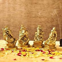 TIED RIBBONS Set of 4 Ganesha Idol for Home Decor Mandir Table Desktop Table Decoration - Ganesh Decoration Items