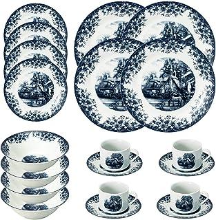 طقم أدوات مائدة بتصميم مزرعة من 20 قطعة من فالبرو - طقم أدوات مائدة - أزرق - يتضمن أطباق وأوعية وأكواب