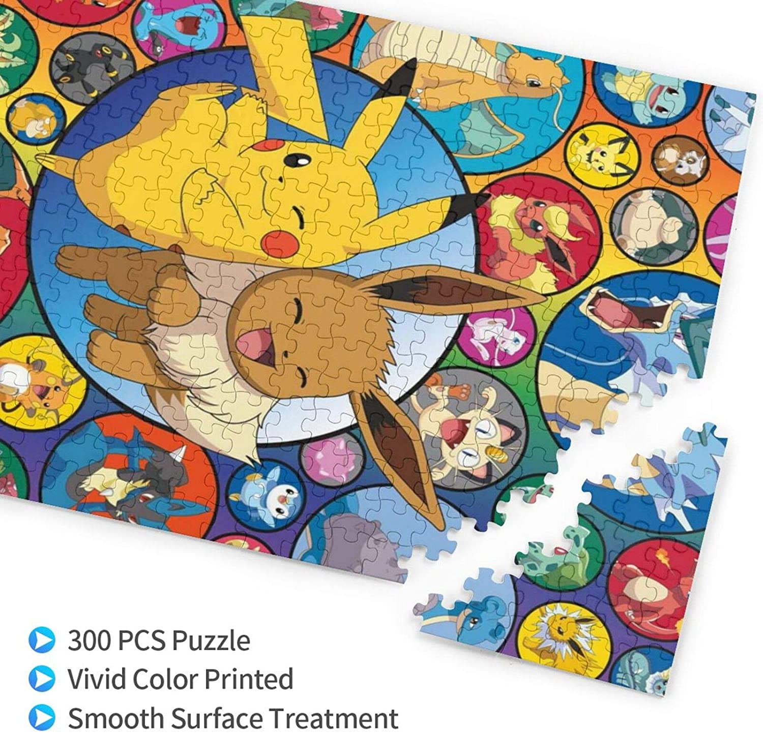 Deivor Game Jigsaw Puzzles 300 Pieces for Kids P-ok-e-mon Jigsaw Puzzle for Educational Gift Home Decor