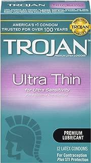 Trojan Ultra Thin Premium Lubricated Condoms - 12 Count