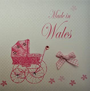 white cotton card Made in Wales Handmade New Baby Town Card with Pink Pram