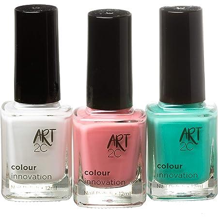 Art 2C - Esmaltes de uñas clásicos en tonos innovadores, 3 unidades de 12ml, 3 tonos rabiosamente veraniegos