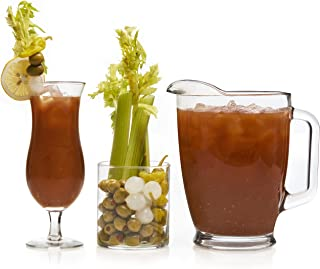 Libbey Modern Bar Bloody Mary Entertaining Set with 6 Hurricane Glasses, 3 Cylinder Jars and Pitcher