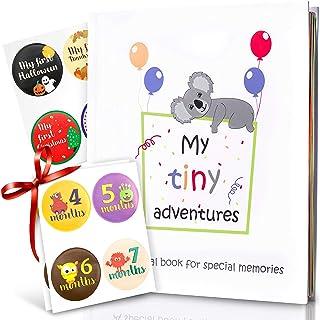 Baby Memory Book - First 5 Years Photo Album, Journal & Scrapbook + 28 FREE Monthly & Milestone Stickers. Modern Baby Show...