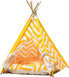 Samincom Pet Cat Dog Teepee with Cushion, 4-Sided House Indian Tents, Wood Canvas Tipi Fold Away Pet Tent Small Animals Bed