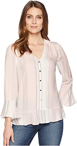 Flared Sleeve Stripe Blouse with Open Hem
