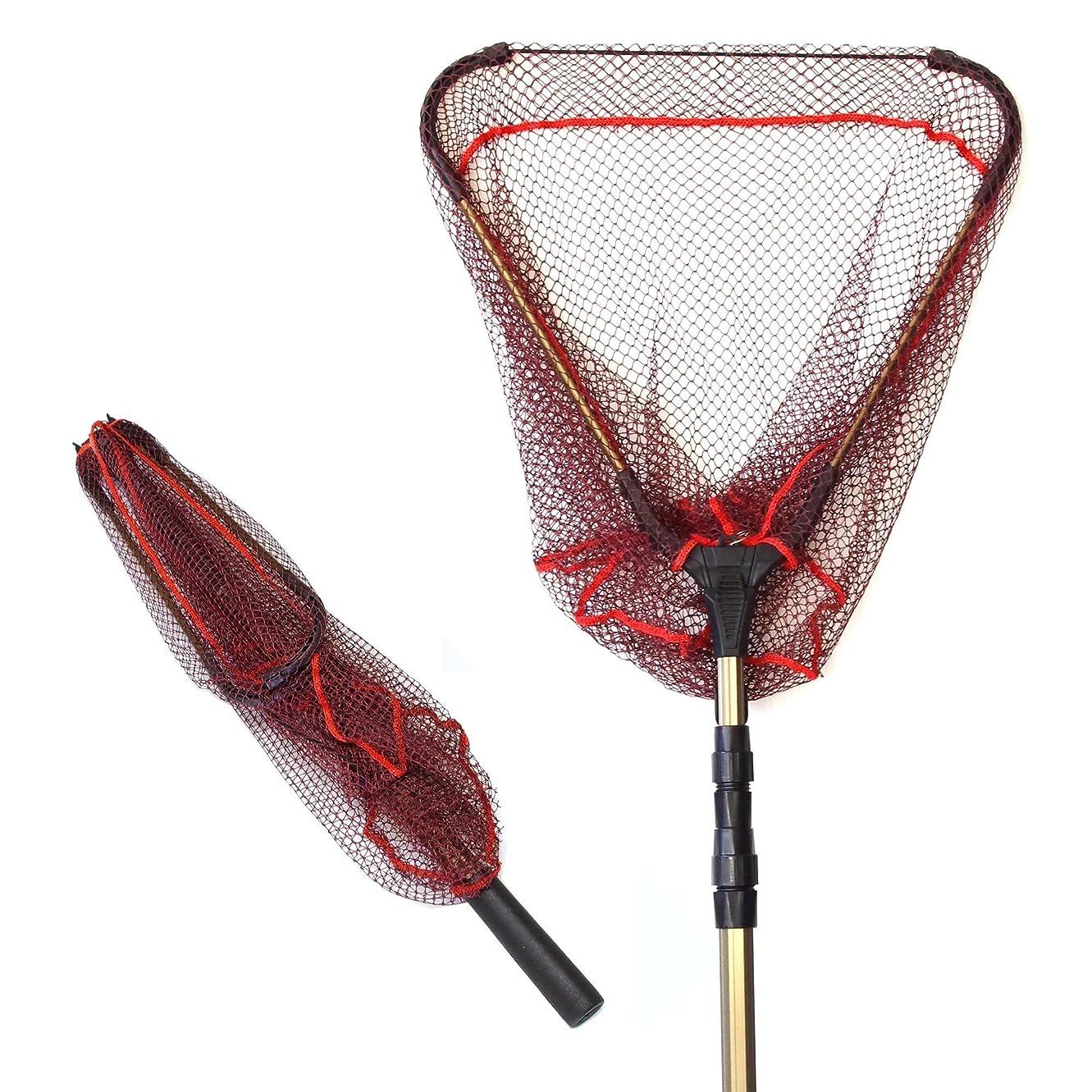 たらい痛みブラシTPOS 玉網 たも 折りたたみ式タモ網 ワンタッチネット 伸縮する玉網 たも網コンパクト最大約190cm収納時約71cm網幅約43cm【フックの位置を改良しました】