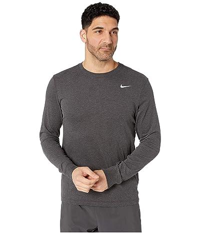 Nike Dry Tee Dri-FIT Cotton Long Sleeve Solid (Black Heather/Matte Silver) Men