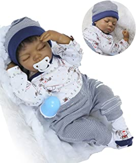 Reborn Baby Dolls African American Boys Black Baby Realistic Silicone Vinyl 22 inches Handmade Weighted Cute Eyes Closed Sleeping