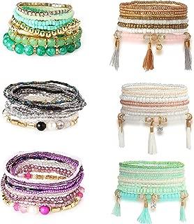 Hanpabum 6 Sets Bohemian Beaded Bracelets for Women Girls Multicolor Stretch Multilayered Stackable Bracelet Set