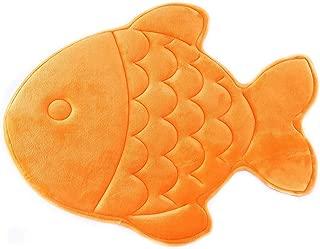 Hughapy Bathmat Slow Rebound Memory Foam Children Bath Rug Christmas Fish Rugs Water Absorbing Slip Resistant Coral Fleece Mat Doormat Carpet (Orange)